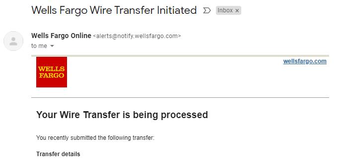 Wells Fargo wire transfer notification