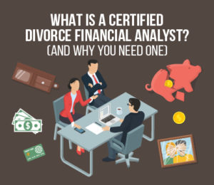 Divorcing husband and wife meeting with a certified divorce financial analyst