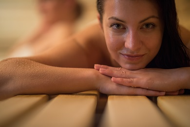 Divorced woman at cheap sauna to lower expenses after divorce