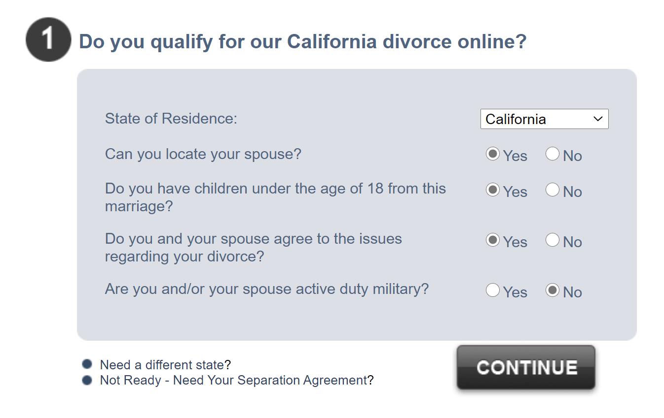 3 step divorce questions